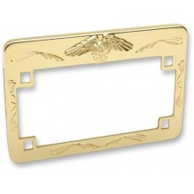 License plate frame with eagle gold